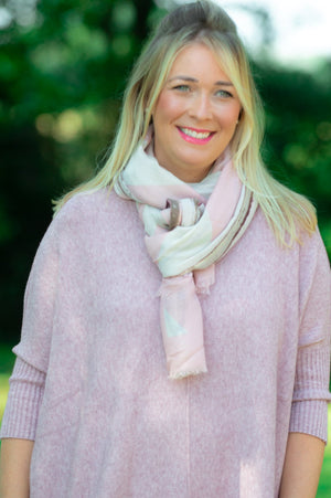 Pink Abstract Striped Glitter Scarf
