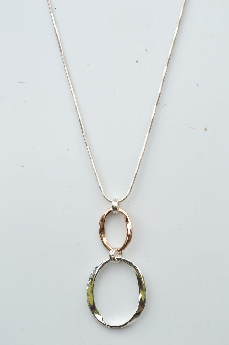Long Silver & Rose Gold Double Oval Necklace