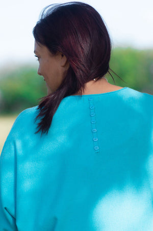 Turquoise Button-Back Jumper
