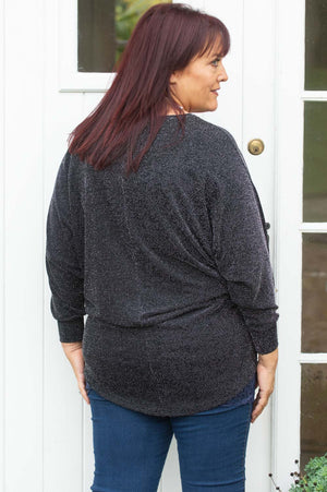 Black Drop Sleeve Glitter Jumper