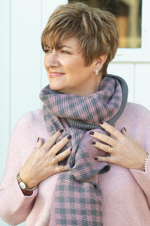 Charcoal & Blush Pink Textured Scarf