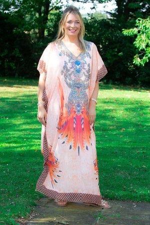 Orange Maxi Tribal Print Kaftan