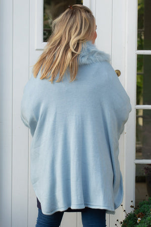 VIP Light Blue Faux Fur Sleeved Wrap