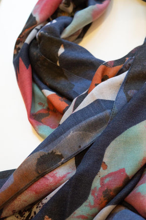 Navy Watercolour Abstract Print Scarf