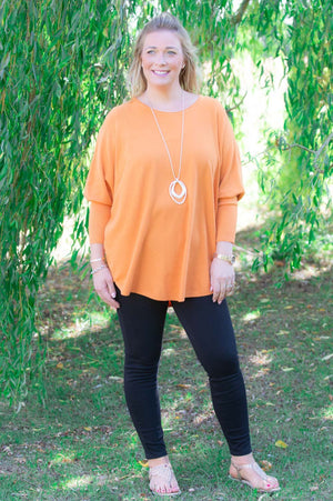 Orange Button-Back Jumper