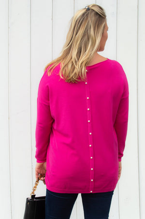 Fuchsia Pearl Back Detail Jumper