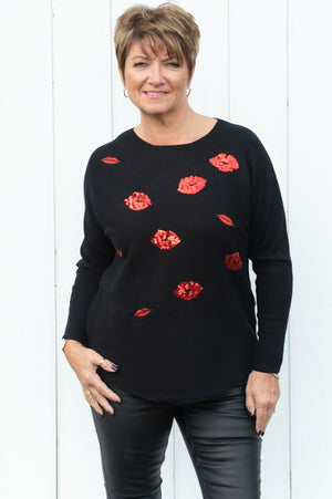 Black & Red Sequin Lips Jumper