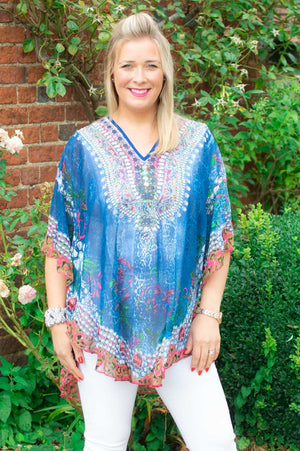 Blue Animal & Floral Print Kaftan