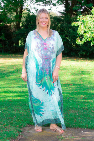 Green Maxi Tribal Print Kaftan