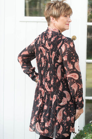 Black Paisley Print Bow Pleated Blouse