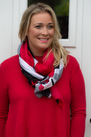 Red Block Floral Scarf