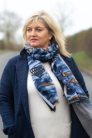 Grey & Navy Feather Print Scarf