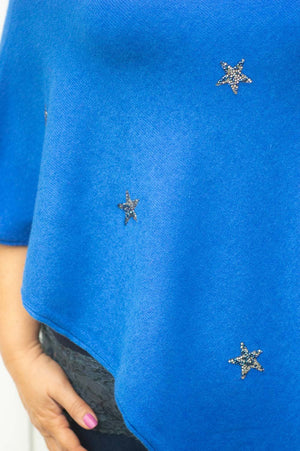 Royal Blue Gem Star Poncho
