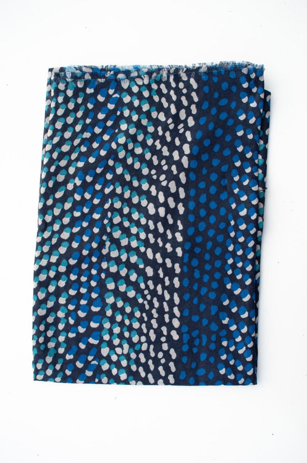 Blue Two-Tone Spot Scarf