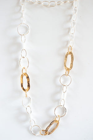 Long Gold and Silver Oval Ring Chain Necklace