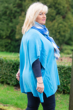 Turquoise Knitted Poncho