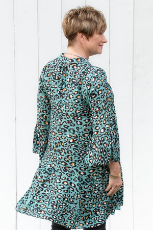 Duck Egg Blue Leopard Print Blouse