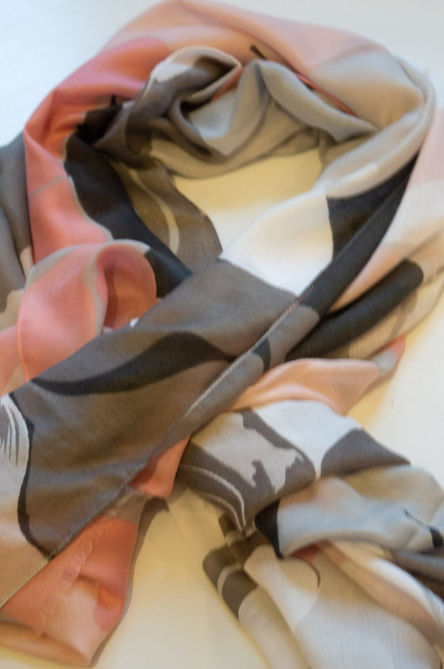 Blush Pink and Grey Floral Print Scarf