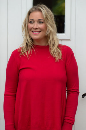Red Plaited Waterfall Jumper