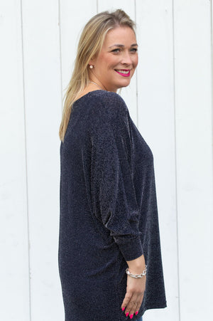 Navy Drop Sleeve Glitter Jumper