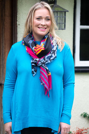 Hot Pink & Navy Leopard Print Scarf