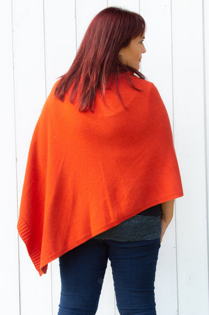 Burnt Orange Wool Poncho