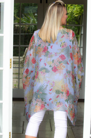 Denim Blue Floral Silk Blouse