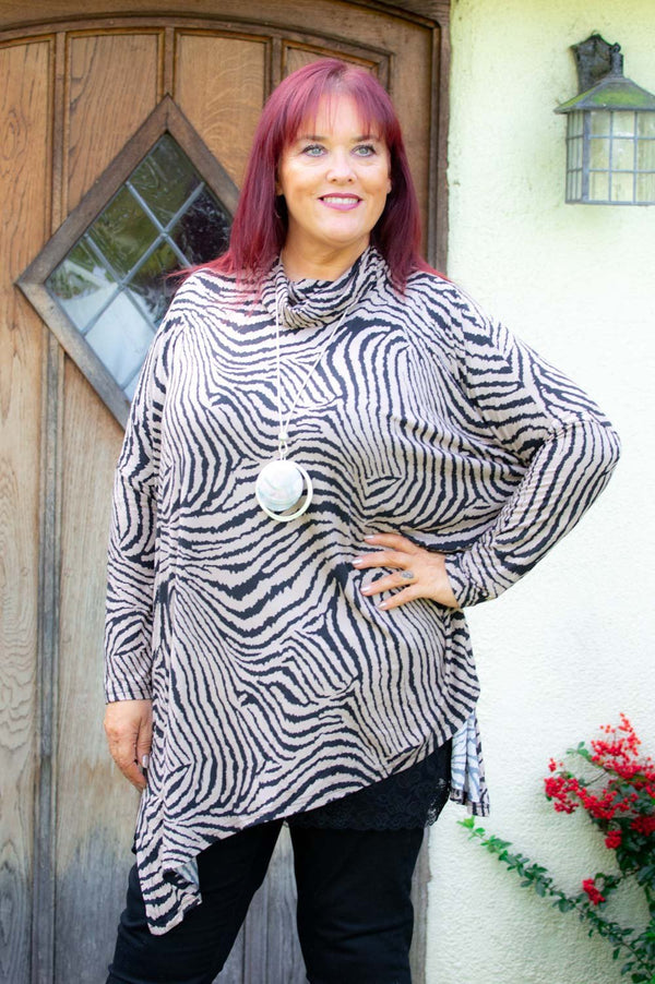 Taupe Animal Print CURVE Top