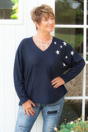 Navy Star Wooly Jumper