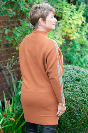 Rust Embellished High Neck Jumper