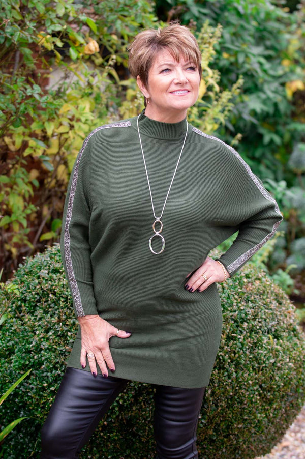 Khaki Embellished High Neck Jumper