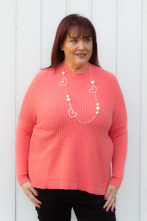 Coral Ribbed Turtle Neck Jumper