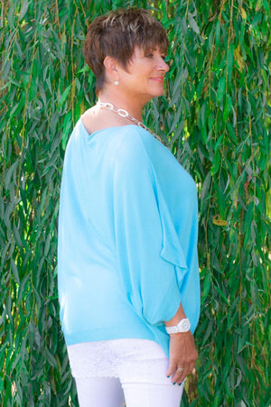 Aqua Blue Drop-Sleeve Knit