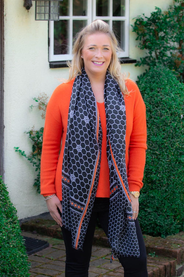 Black & Orange Honeycomb Scarf