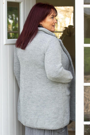 Grey Chunky Knitted Jacket