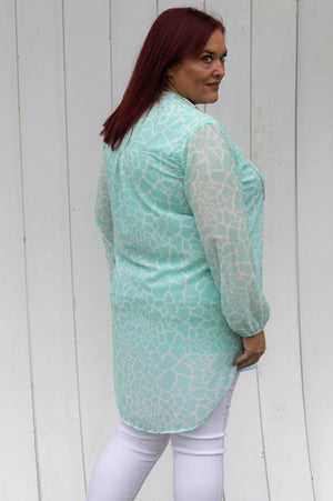 Mint Abstract Animal Print Blouse