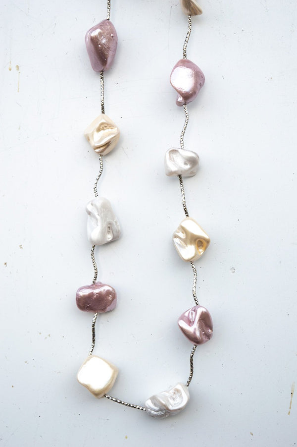 Long Pearlescent Stone Glitter Necklace