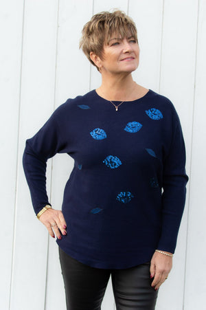 Navy Sequin Lips Jumper