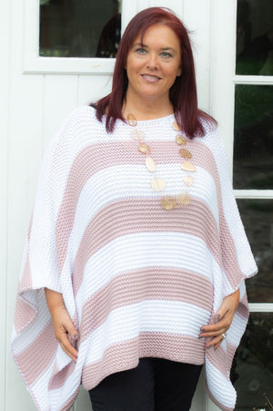 Blush Pink Striped Chunky Sofia Knit