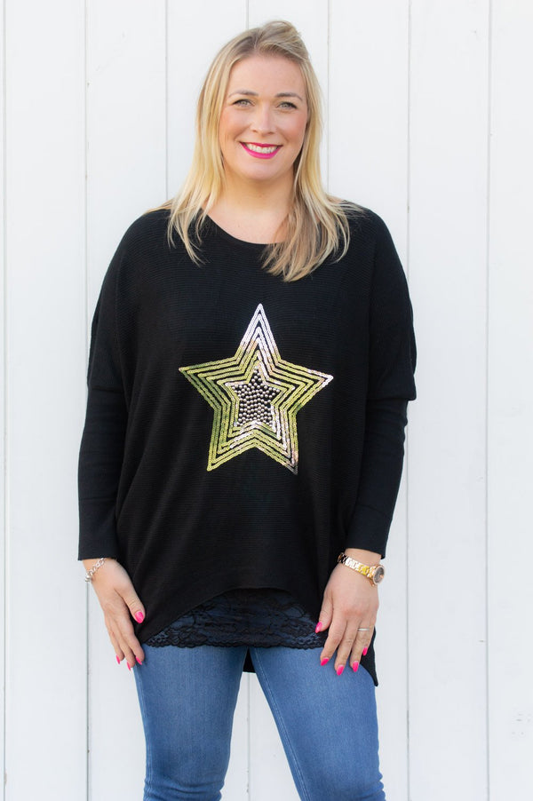 Black Star Gem Embellished Jumper