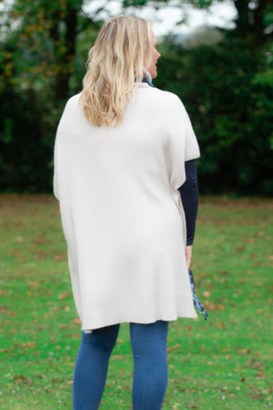 Beige Roll-Neck Button Poncho