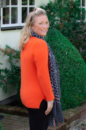 Orange V-Neck Star Embroidered Jumper