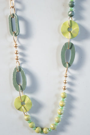 Long Green Bead and Oval Necklace