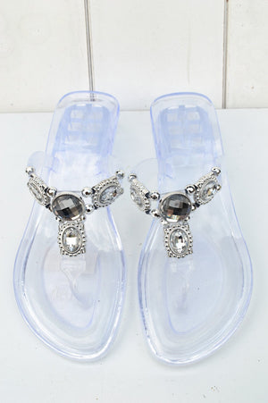 Silver and Clear Jewelled Sandal