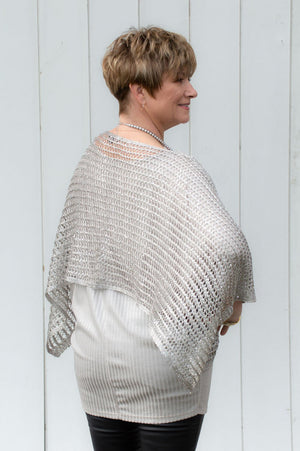 Silver Netted Sequin Detail Poncho