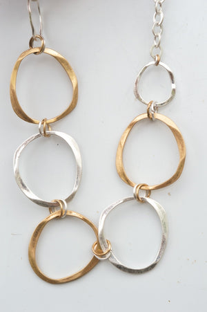 Short Silver and Gold Circular Shape Necklace