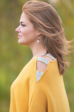 Mustard Embellished Cold Shoulder Jumper