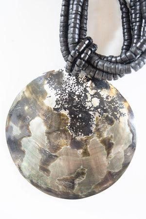 Short Black Abstract Shell Necklace