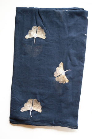 Navy & Gold Embroidered Butterfly Print Scarf