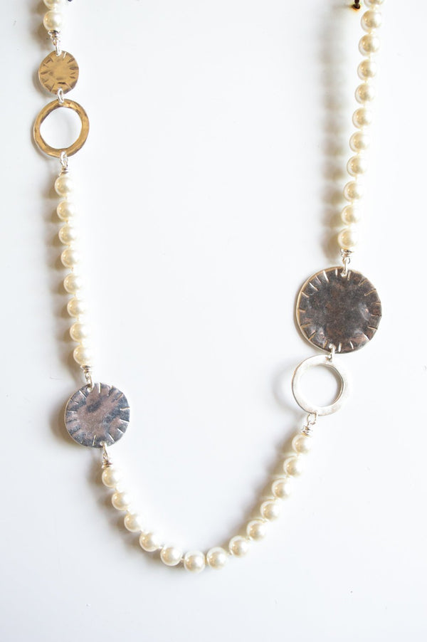 Long Silver Pearl and Disk Necklace
